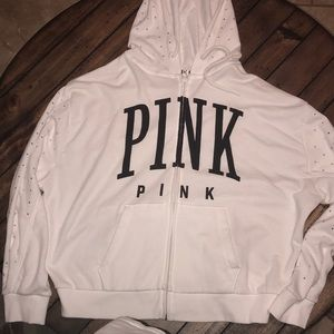 PINK Jackets & Coats - Pink Zip Up Sparkly Jacket